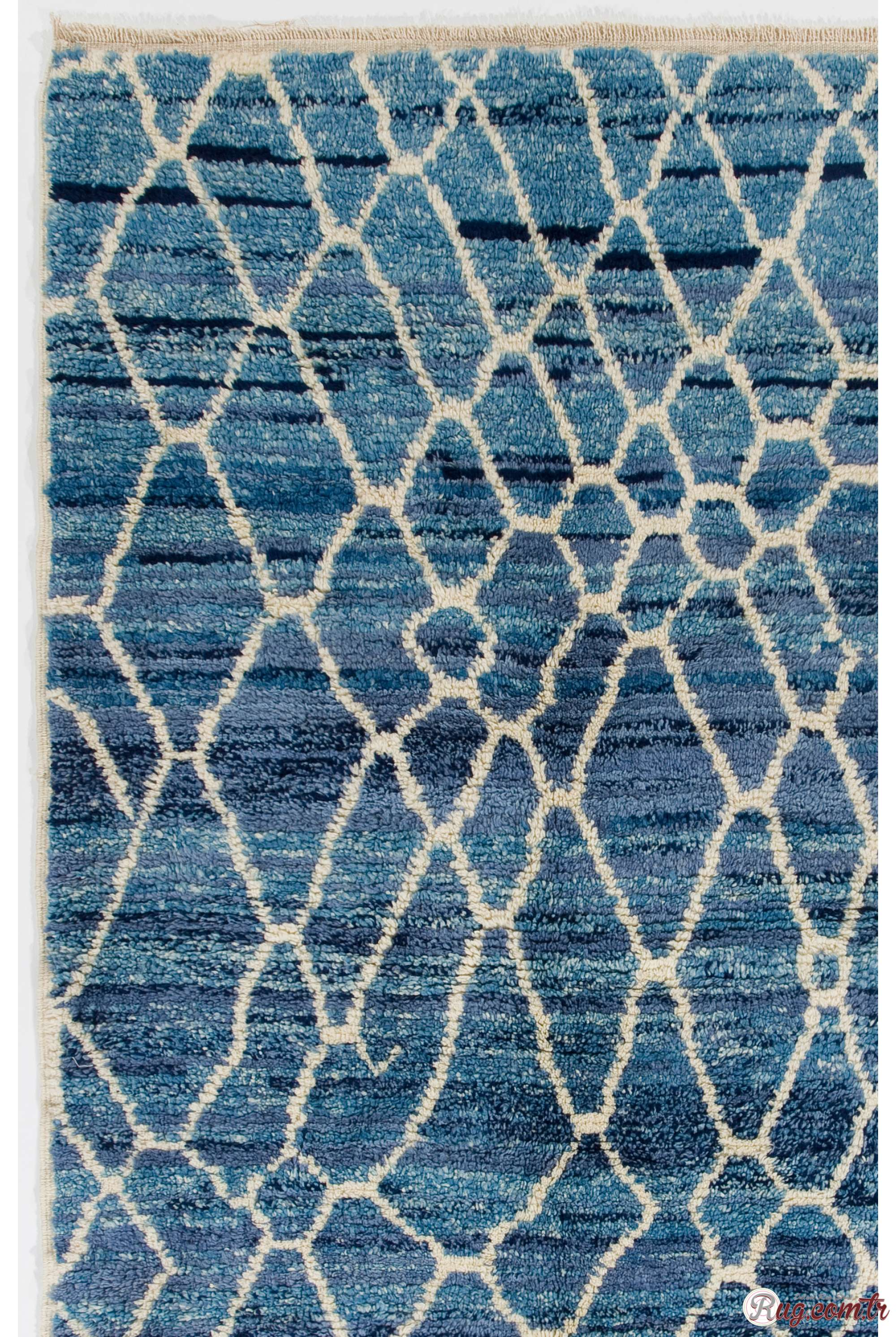 Air Force Blue Color Moroccan Berber Beni Ourain Design Rug With Beige Patterns And Shades Of