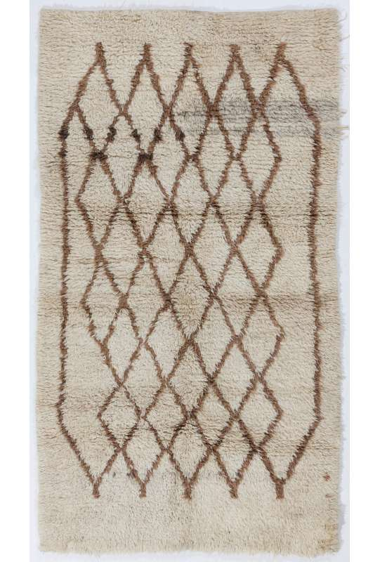 Taupe colored MOROCCAN Berber Beni Ourain Design Rug with Brown Diamond Shaped patterns, HANDMADE, 100% Wool
