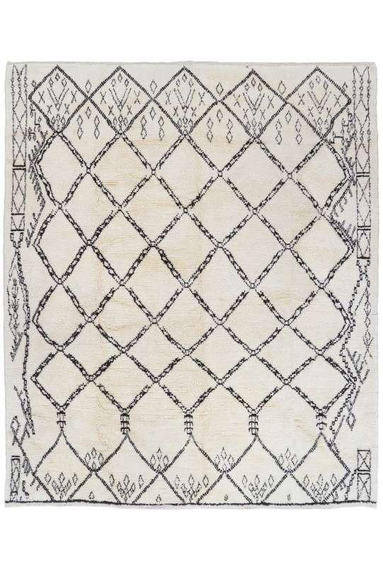 Beige MOROCCAN Berber Beni Ourain Design Rug with black patterns, HANDMADE, 100% Wool, Tribal Rug, Moroccan rug, Beni Ourain Rug, Berberi Rug