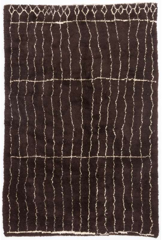 Brown colored MOROCCAN Berber Beni Ourain Design Rug with Beige Line Patterns, HANDMADE, 100% Wool
