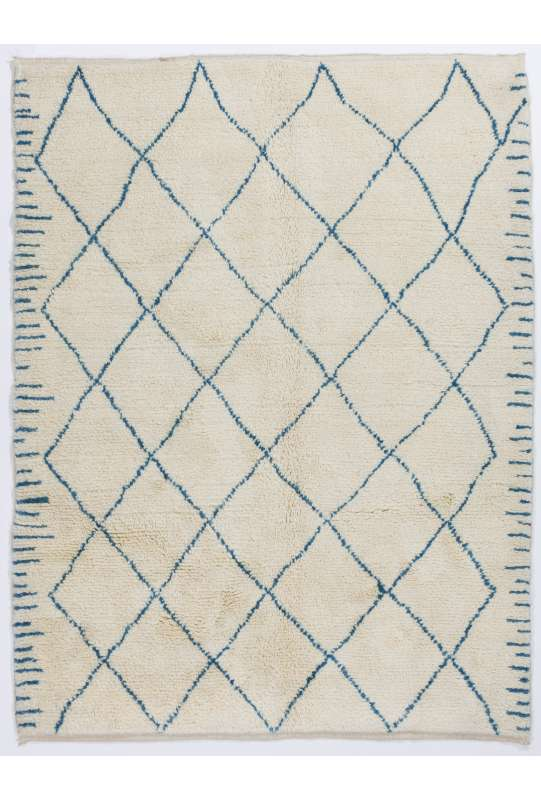 Ivory color MOROCCAN Berber Beni Ourain Design Rug with Blue patterns, HANDMADE, 100% Wool