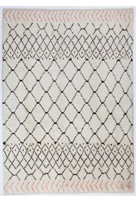 Ivory Color MOROCCAN Berber Beni Ourain Design Rug with Brown and Red Patterns, HANDMADE, 100% Wool