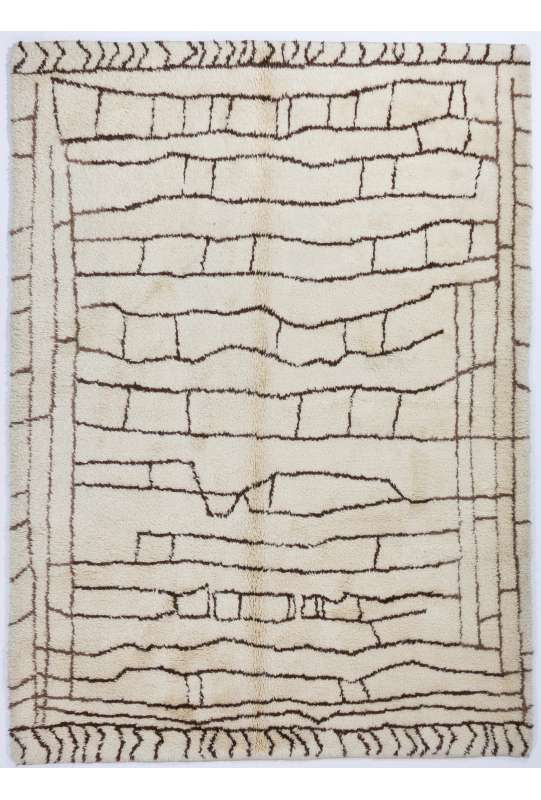 Ivory color Moroccan Rug with Brown patterns, HANDMADE, 100% Wool