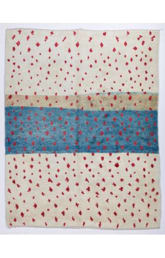 Ivory & Red and Turquoise Blue MOROCCAN Berber Beni Ourain Design Rug, HANDMADE, 100% Wool