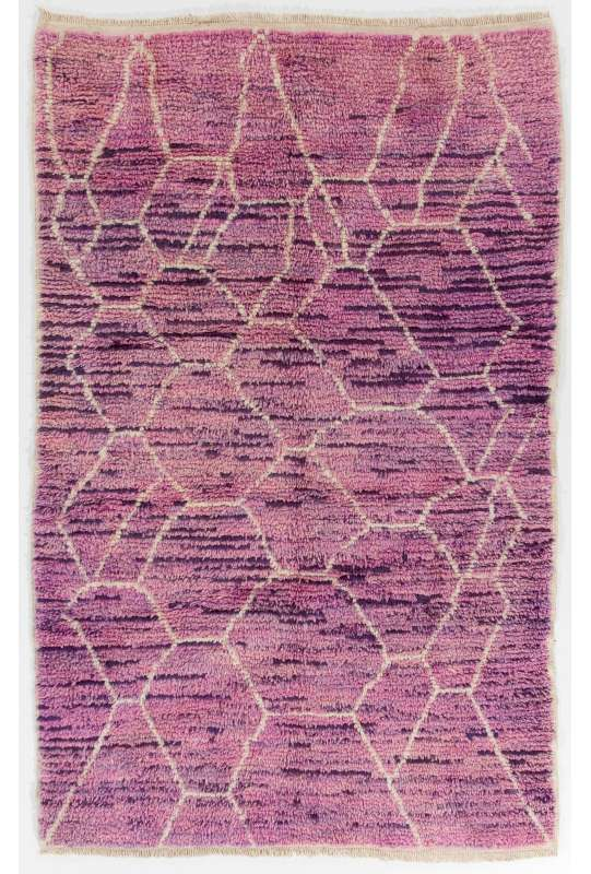 Lilac color MOROCCAN Berber Beni Ourain Design Rug with Lavender patterns, HANDMADE, 100% Wool