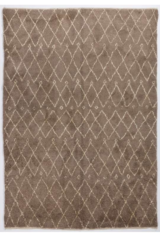 Natural Brown colored MOROCCAN Berber Beni Ourain Design Rug with Beige Diamond Patterns, HANDMADE, 100% Wool