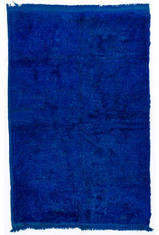 Navy Blue colored Turkish Tulu Shag Pile Rug, HANDMADE, 100% Wool