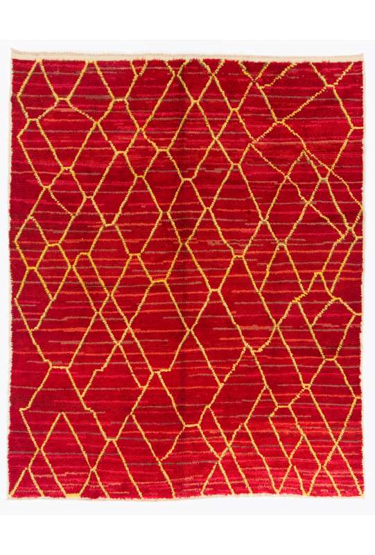 Red Color Moroccan Berber Beni Ourain Design Rug, Handmade of 100% Fine Handspun Wool