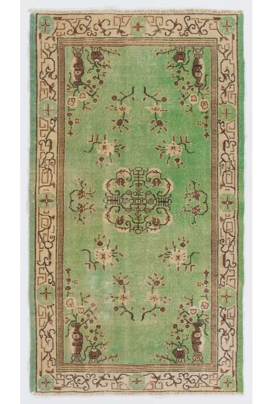"3'10"" x 6'10"" (117 x 209 cm) Turkish Sun Faded Rug. Green, Brown & Beige"