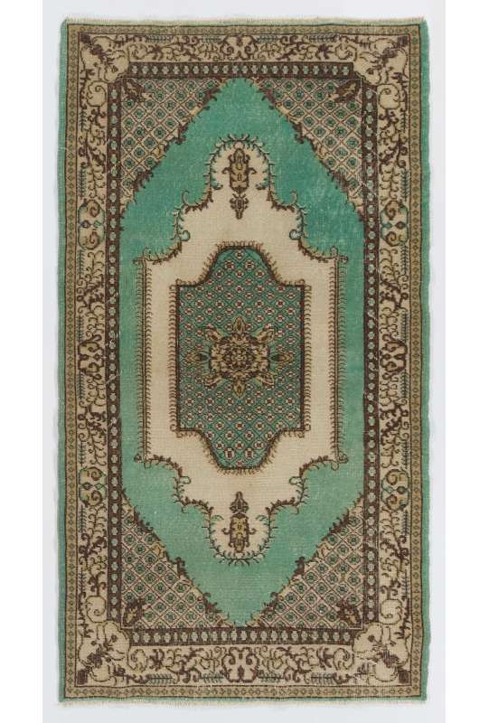 """3'10"""" x 6'10"""" (117 x 210 cm) Turkish Antique Washed Rug, Green, Brown & Beige"""