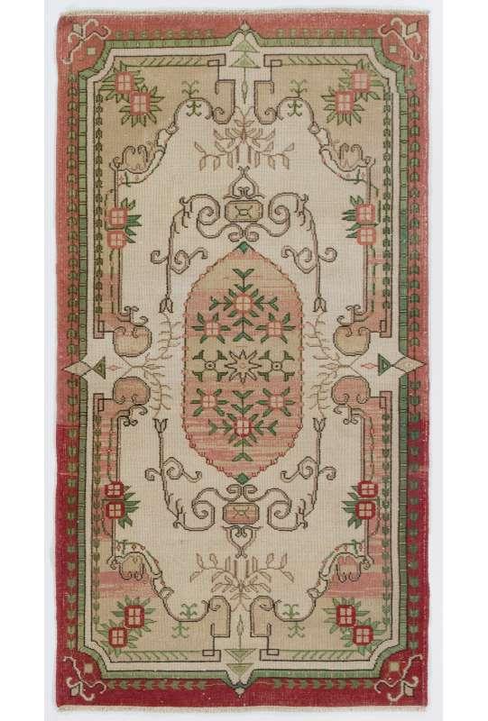 """3'10"""" x 7'1"""" (117 x 216 cm) Antique Washed Rug, Turkish Handmade Vintage Rug, Red, Green & Beige Antique Washed Rug"""