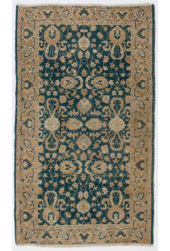 "3'7"" x 6'2""  (110 x 190 cm) Turkish Village Rug, Beige & Blue"
