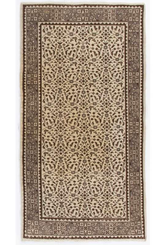 """Handmade Turkish Rug, 3'8"""" x 6'10"""" (112 x 210 cm) Turkish Antique Washed  Rug, Gray, Brown & Beige"""