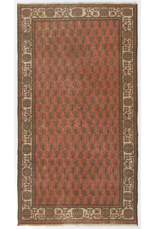 "3'8"" x 6'11"" (114 x 211 cm) Turkish Sun Faded Rug, Red and Beige Turkish Rug"