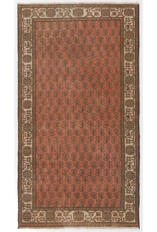 "3'8"" x 6'11"" (114 x 211 cm) Turkish Antique Washed Rug, Red and Beige Turkish Rug"