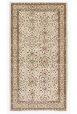 "Antique Washed Rug 3'8"" x 6'9"" (112 x 207 cm) Turkish Handmade Vintage Rug, Beige Antique Washed Rug"