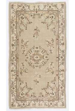 """Beige & Brown Handmade Turkish Rug, 3'8"""" x 6'9"""" (113 x 206 cm) Turkish Antique Washed Rug"""