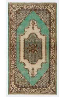 """3'9"""" x 6'11"""" (116 x 213 cm) Turkish Antique Washed Rug, Green, Brown & Beige"""