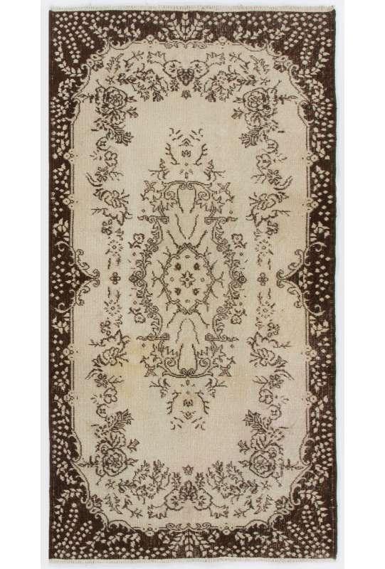 """3'9"""" x 7'2"""" (116 x 220 cm) Turkish Antique Washed  Rug, Beige & Brown"""