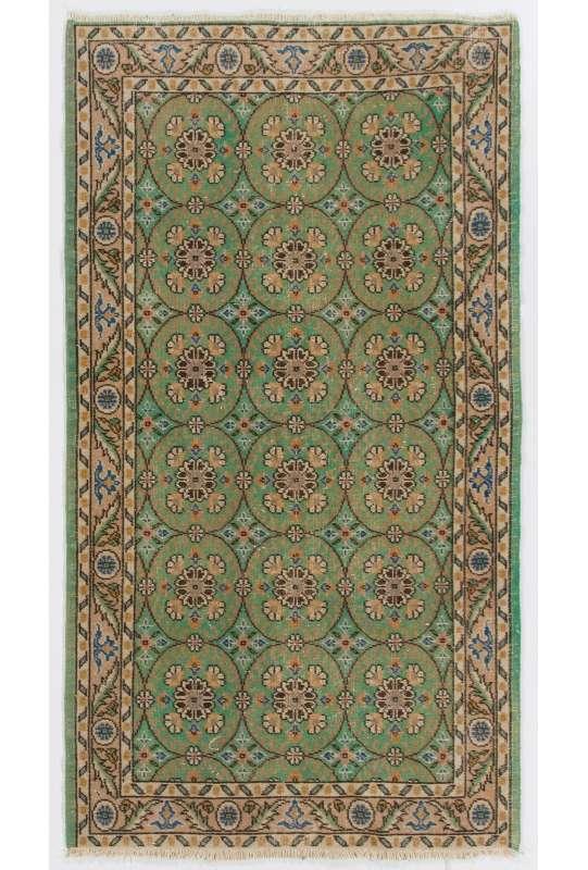 "3'9"" x 7' (116 x 214 cm) Green, Peach & Beige Turkish Sun Faded Rug"