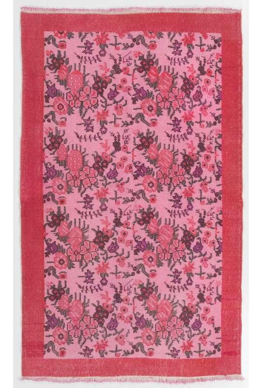 "4' x 6'4"" (122 x 194 cm) Turkish Antique Washed Rug, Pink Turkish Rug"