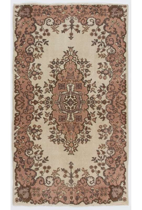 "4' x 6'7"" (118 x 203 cm) Turkish Antique Washed  Rug, Beige, Pink & Brown"