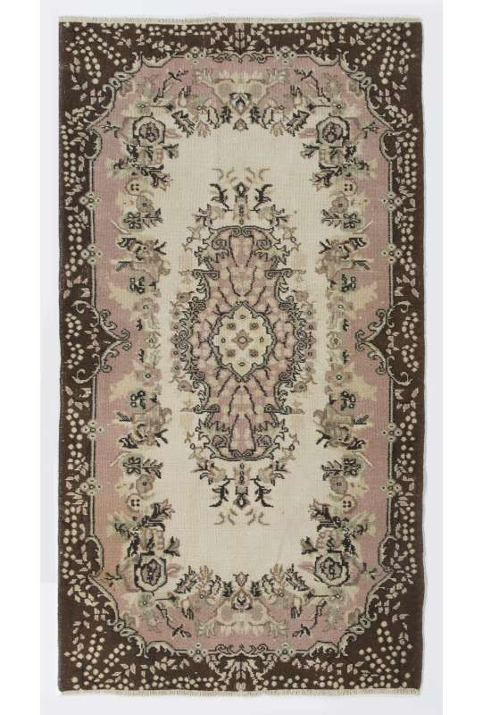 "4' x 7'4"" (117 x 215 cm) Turkish Antique Washed  Rug, Beige, Pink & Brown"