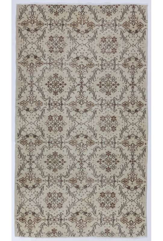 4' x 7' (123 x 216 cm) Handmade Turkish Antique Washed  Rug, Beige