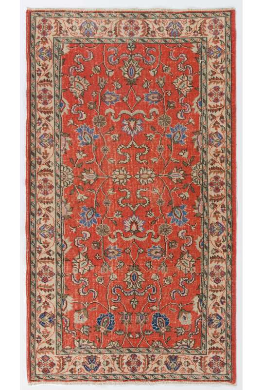 4' x 7' (123 x 216 cm) Turkish Sun Faded Rug, Red and Beige Turkish Rug
