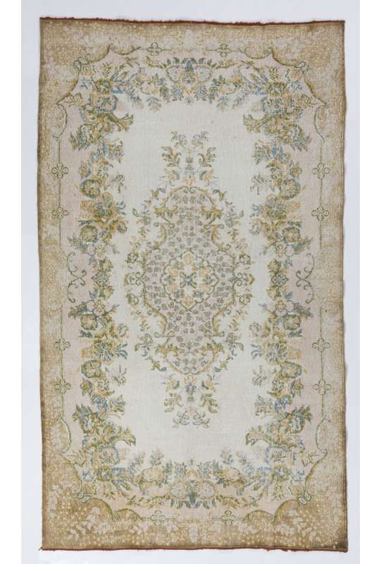"5'7"" x 9'8"" (172 x 296 cm) Beige Colored Handmade Turkish Antique Washed  Rug"
