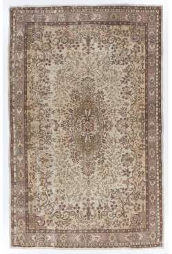 "6'8"" x 10'3"" (204 x 314 cm) Turkish Antique Washed Rug, Beige, Taupe & Brown"