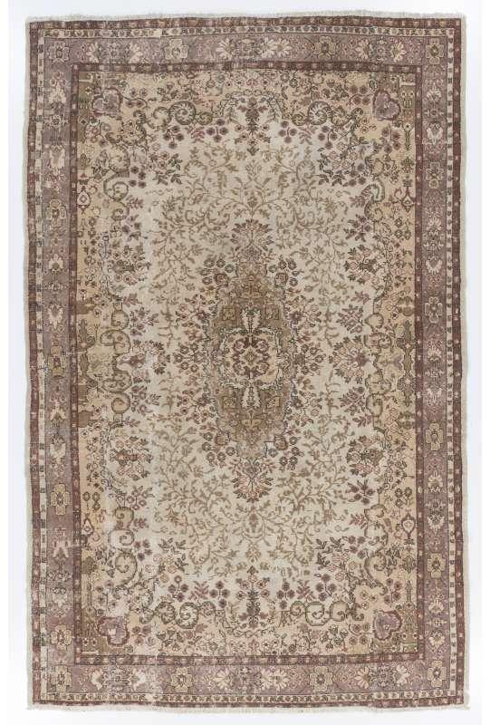 "6'8"" x 10'3"" (204 x 314 cm) Turkish Antique Washed Rug, Beige, Taupe & Brown"