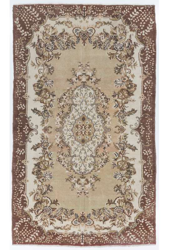 "6'9"" x 11'5"" (206 x 350 cm) Turkish Antique Washed Rug, Beige, Taupe & Brown"