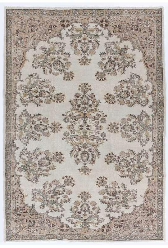 "7'6"" x 11' (230 x 333 cm) Turkish Antique Washed Rug, Beige, Taupe & Brown"