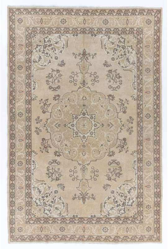 7' x 11' (218 x 333 cm) Turkish Antique Washed Rug, Beige, Taupe & Brown