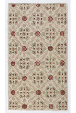 "Beige Anatolian Rug with floral patterns, Retro Style Antique Washed Rug, 3'7"" x 6'6"" (115x203 cm) Small Anatolian Rug, Beige color with Red and Green Patterns"