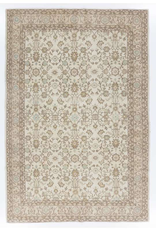 "6'7"" x 9'7"" (205 x 298 cm) Handmade Turkish Antique Washed Rug, Beige"