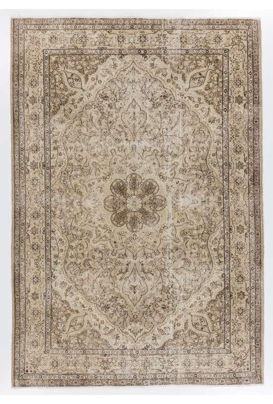 """Brown & Beige Turkish Rug, 6'8"""" x 9'6"""" (205 x 295 cm) Turkish Antique Washed  Rug, Beige and Brown Turkish Rug"""