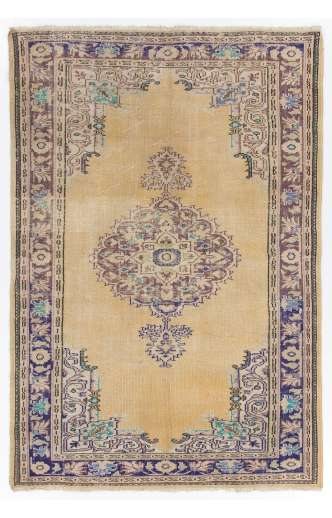 """Beige Antique Washed Turkish rug with Purple and Lilac Patterns, 6' x 8'9"""" (186 x 268 cm )"""