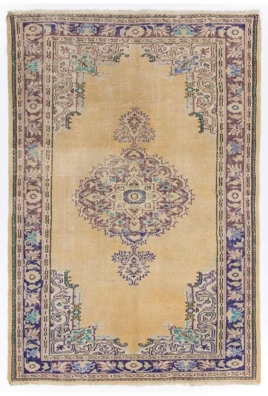 "Beige Sun Faded Turkish rug with Purple and Lilac Patterns, 6' x 8'9"" (186 x 268 cm )"