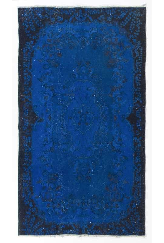 "3'10"" x 6'10"" (118 x 210 cm) Cobalt Blue Color Vintage Overdyed Handmade Turkish Rug, Blue Overdyed Rug"