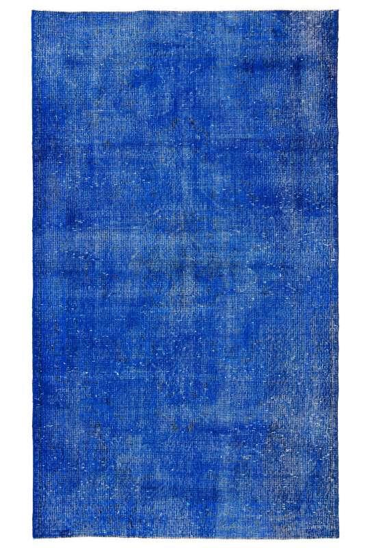 "3'10"" x 6'7"" (118 x 203 cm) Sapphire Blue Color Vintage Overdyed Handmade Turkish Rug, Blue Overdyed Rug"