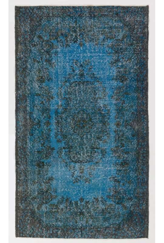 "3'10"" x 6'9"" (118 x 206 cm) Steel Blue Color Vintage Overdyed Handmade Turkish Rug"