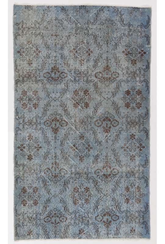 "3'11"" x 6'10"" (120 x 210 cm) Steel Blue Color Vintage Overdyed Handmade Turkish Rug, Blue Overdyed Rug"