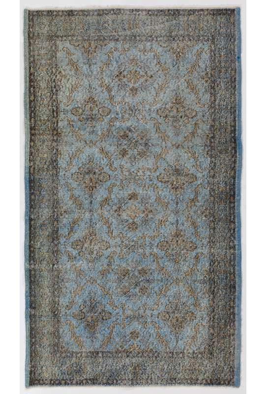 "3'11"" x 6'9"" (120 x 207 cm) Steel Blue Color Vintage Overdyed Handmade Turkish Rug, Blue Overdyed Rug"