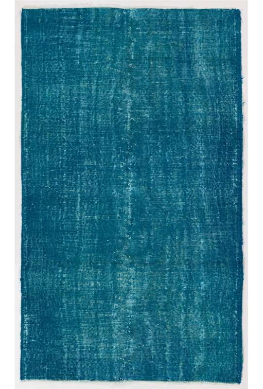 "3'7"" x 6' (110 x 186 cm) Teal Blue Color Vintage Overdyed Handmade Turkish Rug"