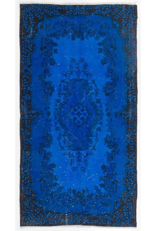 "3'7"" x 7' (110 x 214 cm) Cobalt Blue Color Vintage Overdyed Handmade Turkish Rug, Blue Overdyed Rug"