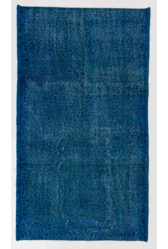 "3'9"" x 6'10"" (116 x 210 cm) Blue Color Vintage Overdyed Handmade Turkish Rug, Blue Overdyed Rug"