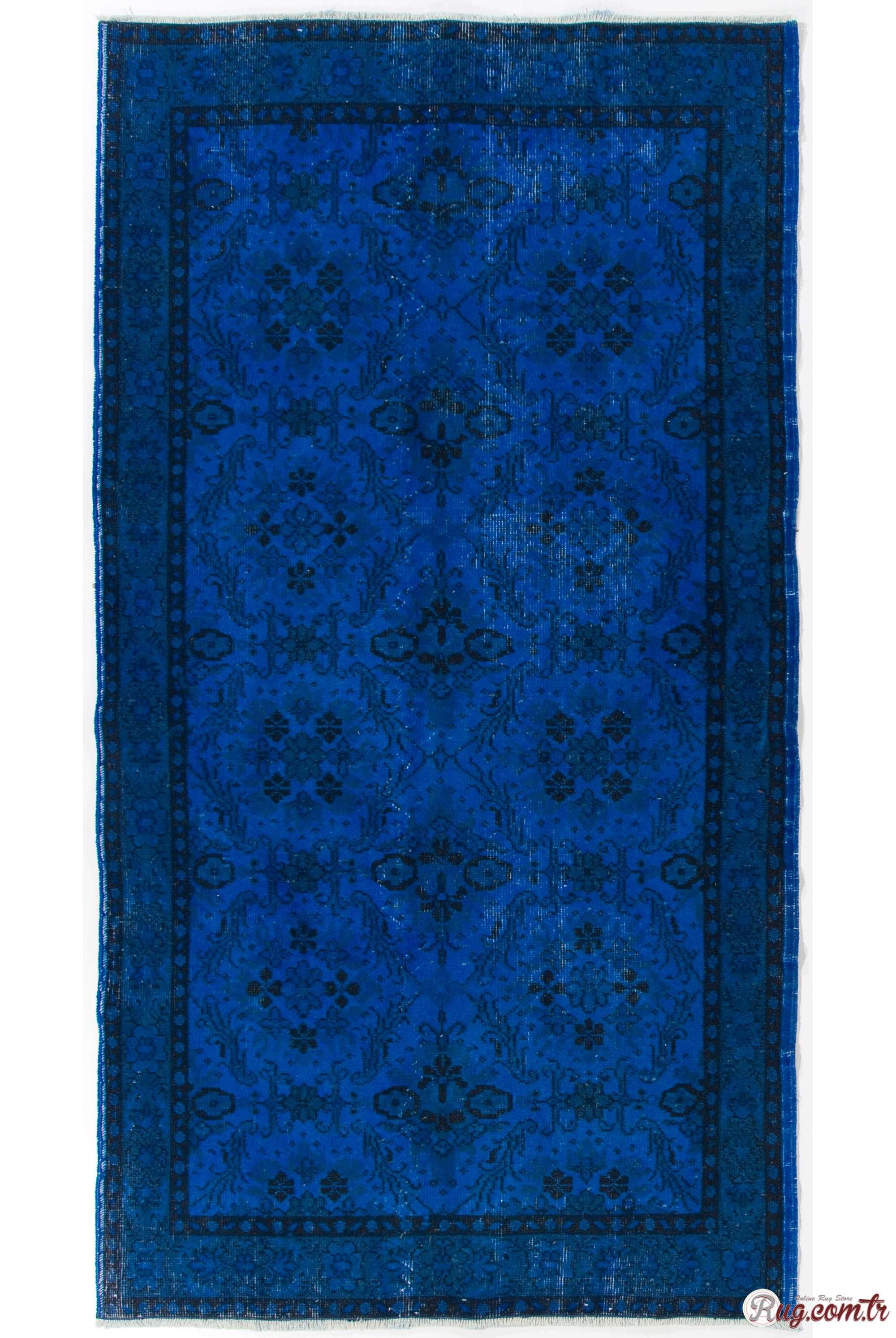 Cobalt Blue Color Vintage Overdyed Handmade Turkish Rug