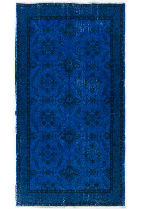 "3'9"" x 7'1"" (116 x 216 cm) Cobalt Blue Color Vintage Overdyed Handmade Turkish Rug, Blue Overdyed Rug"